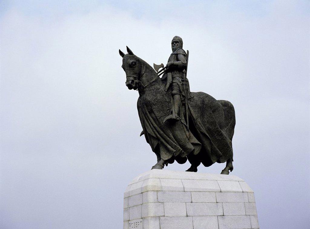 Statue of Robert the Bruce, Bannockburn Battlefield site, Stirling, Scotland, United Kingdom, Europe : Stock Photo