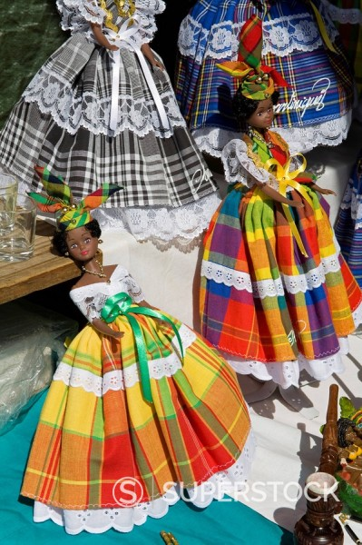 Stock Photo: 1890-58826 Dolls, Craft Market in La Savane Park, Fort_de_France, Martinique, French Antilles, West Indies, Caribbean, Central America
