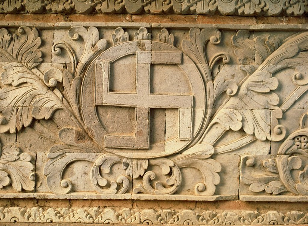 Stock Photo: 1890-5894 Relief of swastika, an old Hindu symbol, temple of Goa Lawah, east of Klungkung, Bali, Indonesia, Southeast Asia, Asia