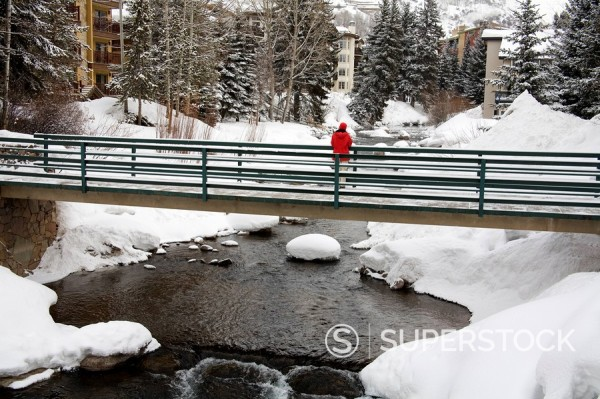 Bridge over Gore Creek, Vail Ski Resort, Rocky Mountains, Colorado, United States of America, North America : Stock Photo