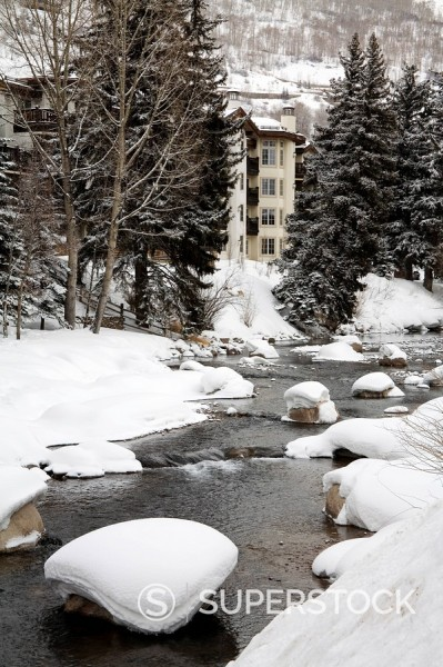 Stock Photo: 1890-59003 Gore Creek, Vail Ski Resort, Rocky Mountains, Colorado, United States of America, North America