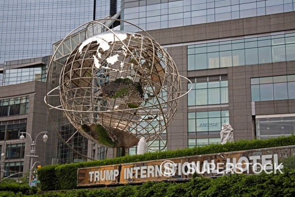 Stock Photo: 1890-59178 Globe Sculpture by Brandell outside Trump International Hotel, Columbus Circle, Midtown Manhattan, New York City, New York, United States of America, North America