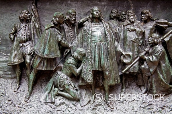 Detail of Columbus Monument, Midtown Manhattan, New York City, New York, United States of America, North America : Stock Photo