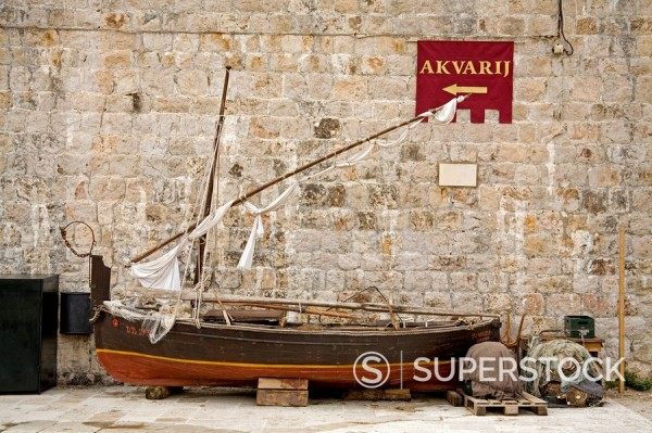 Stock Photo: 1890-59339 Traditional fishing boat, Maritime Museum, Dubrovnik, Dalmatia, Croatia, Europe