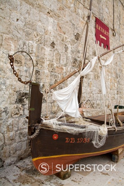 Stock Photo: 1890-59340 Traditional fishing boat, Maritime Museum, Dubrovnik, Dalmatia, Croatia, Europe