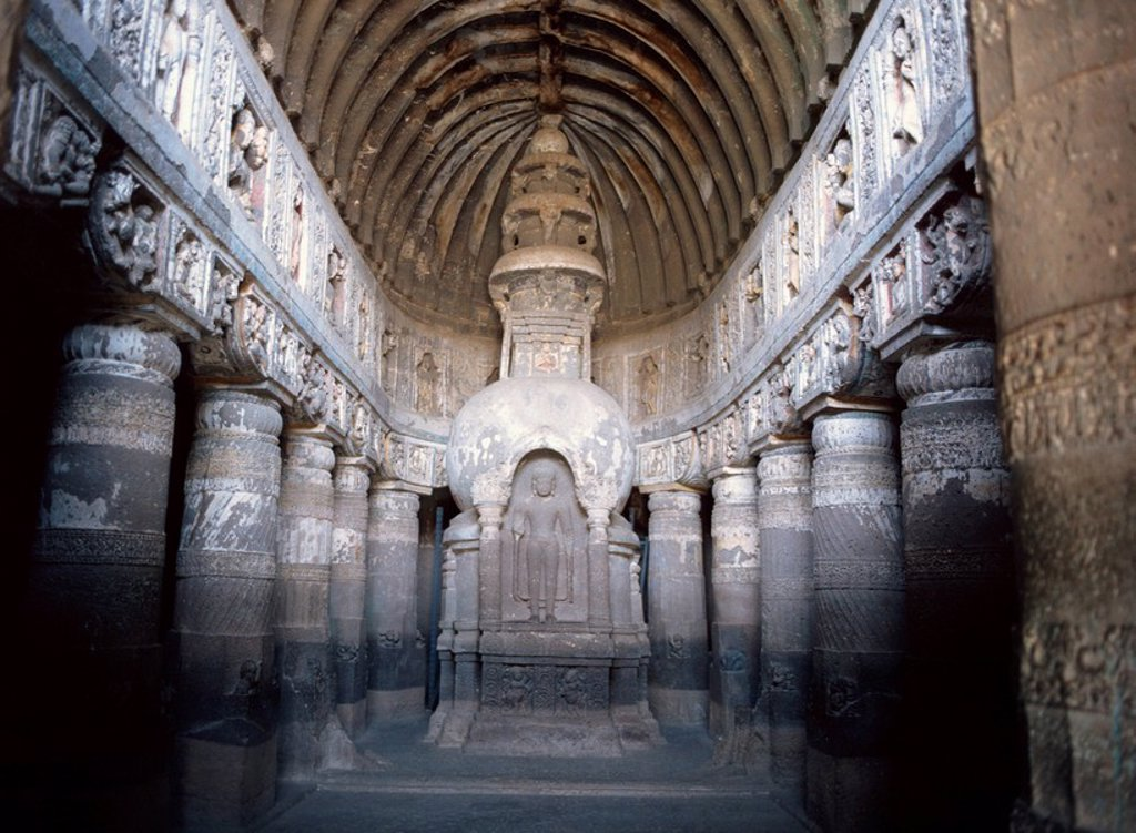 The finely carved late 5th century Buddhist Chaitya Hall, Cave 19, Ajanta Caves, UNESCO World Heritage Site, Maharashtra state, India, Asia : Stock Photo