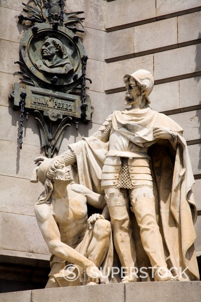 Stock Photo: 1890-59430 Columbus Monument detail, Las Ramblas, Barcelona, Catalonia, Spain, Europe