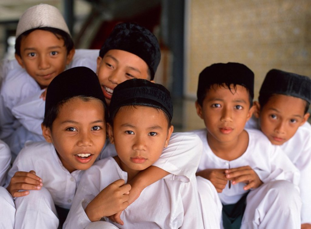 Group of schoolboys at a mosque for religious classes in Kota Kinabalu, Sabah, Malaysia, Southeast Asia, Asia : Stock Photo