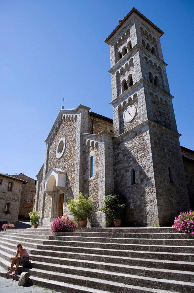 Stock Photo: 1890-59937 Church, Radda in Chianti, Tuscany, Italy, Europe