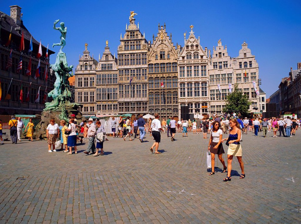Restored Guildhouses, and the Brabo Fountain, Grote Markt, Antwerp, Belgium : Stock Photo