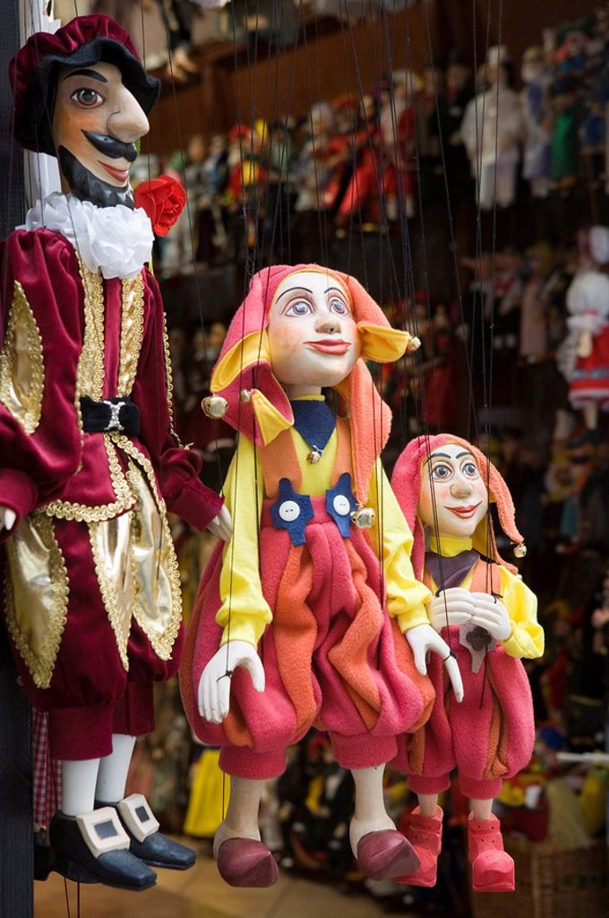 Stock Photo: 1890-60240 Puppets in shop, Old Town, Prague, Czech Republic, Europe