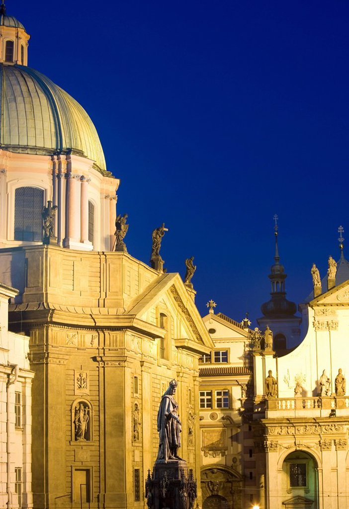 Stock Photo: 1890-60289 Evening, dome of the church of St. Francis, church of the Holy Saviour, Old Town, Prague, Czech Republic, Europe