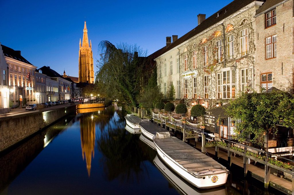Stock Photo: 1890-60406 Canal in the evening and Church of our Lady, Bruges, Belgium, Europe
