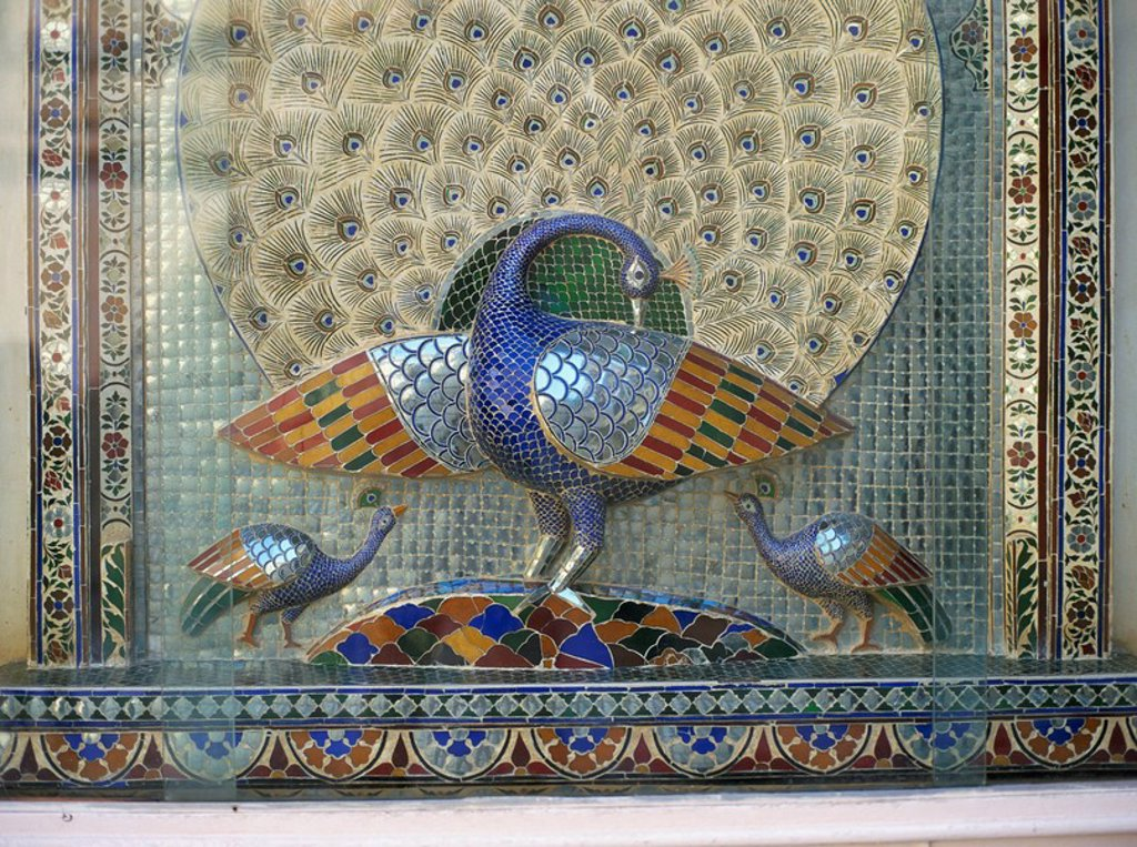Stock Photo: 1890-6075 Glass mosaic peacock dating from the late 19th century, in City Palace Mor Chowk, Udaipur, Rajasthan state, India, Asia