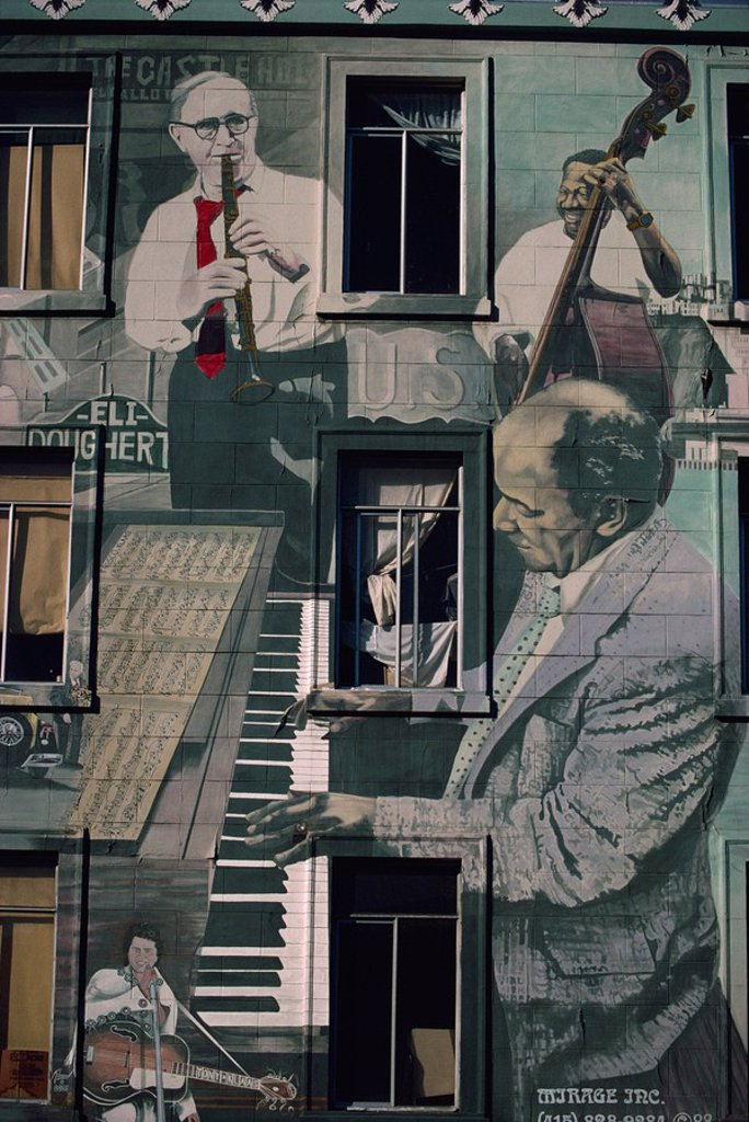 Jazz mural on building at Broadway and Columbus, San Francisco, California, United States of America, North America : Stock Photo