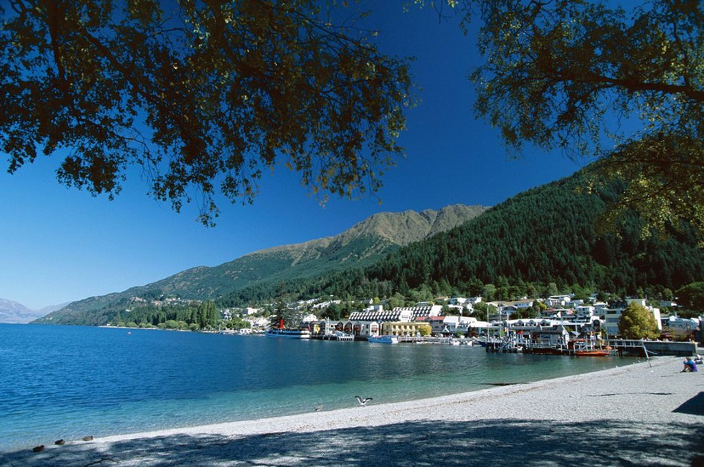 The beach, Queenstown, Lake Wakatipu, Otago, South Island, New Zealand, Pacific : Stock Photo
