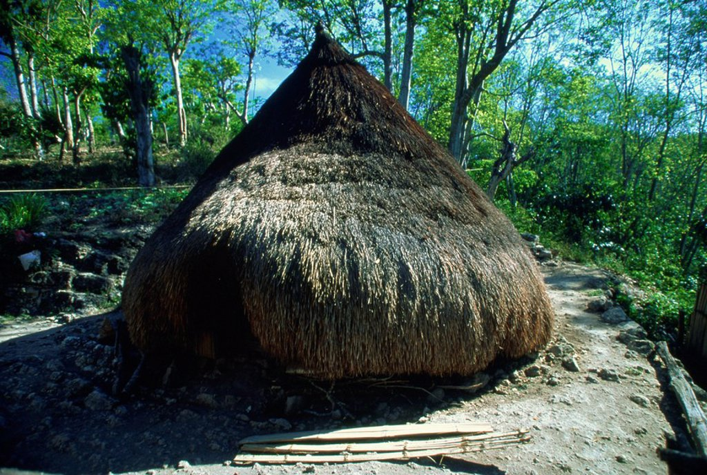 Traditional conical hut in town of Kefamenanu, western Timor, Southeast Asia, Asia : Stock Photo