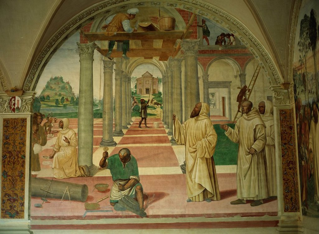 Stock Photo: 1890-6113 Fresco by Antonio Bazzi of Il Sodoma, painted between 1505 and 1508 in series on life of St. Benedict, showing Benedict founding first twelve communities, Abbey of Monte Oliveto Maggiore, near Siena, Tuscany, Italy, Europe