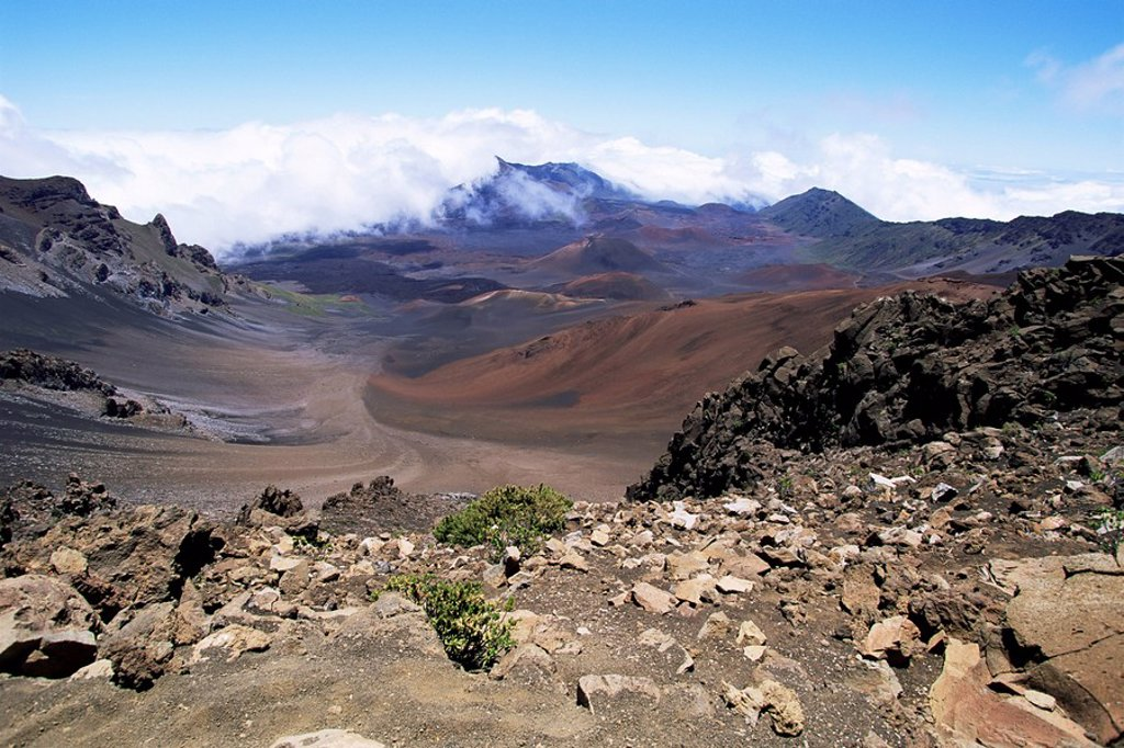 Cinder cone and iron_rich lava weathered to brown oxide in the crater of Haleakala, the world´s largest dormant volcano, island of Maui, Hawaii, Hawaiian Islands, United States of America, North America : Stock Photo