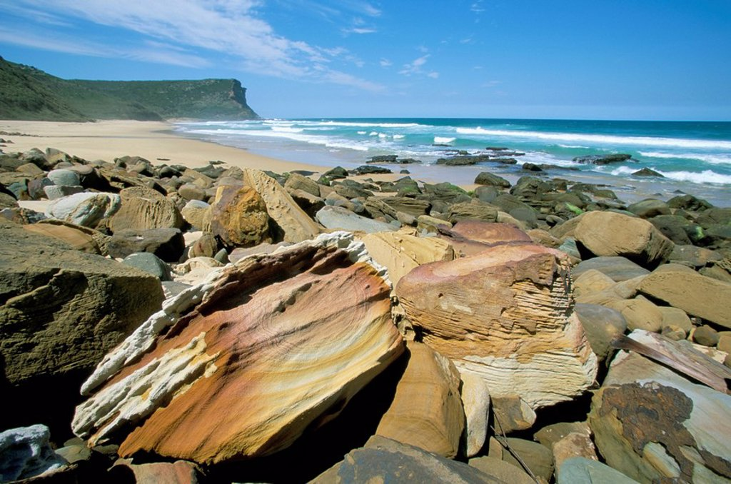 Stock Photo: 1890-61164 Eroded sandstone boulders at Garie Beach in Royal National Park, south of Sydney, New South Wales, Australia, Pacific