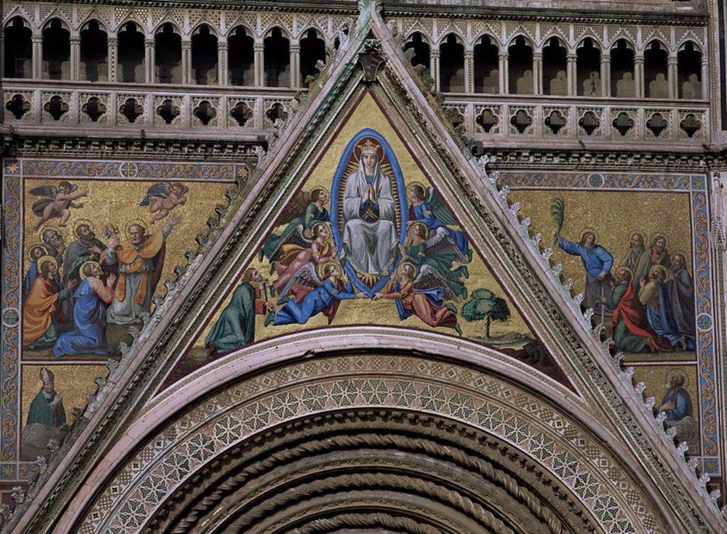 Stock Photo: 1890-6119 Mosaics, mostly 18th and 19th century replacements, on facade of Orvieto cathedral, Orvieto, Umbria, Italy, Europe