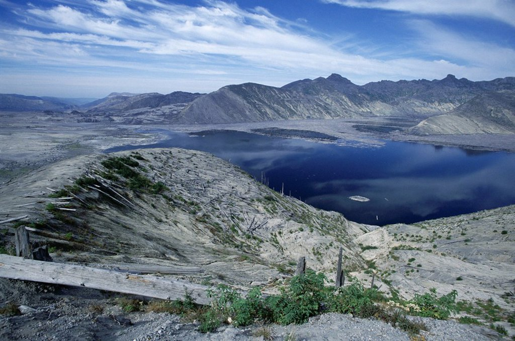 Stock Photo: 1890-61334 Spirit Lake in the landscape north of Mount St. Helens devastated by the 1980 eruption, Mount St. Helens National Volcanic Monument, Washington State, United States of America U.S.A., North America