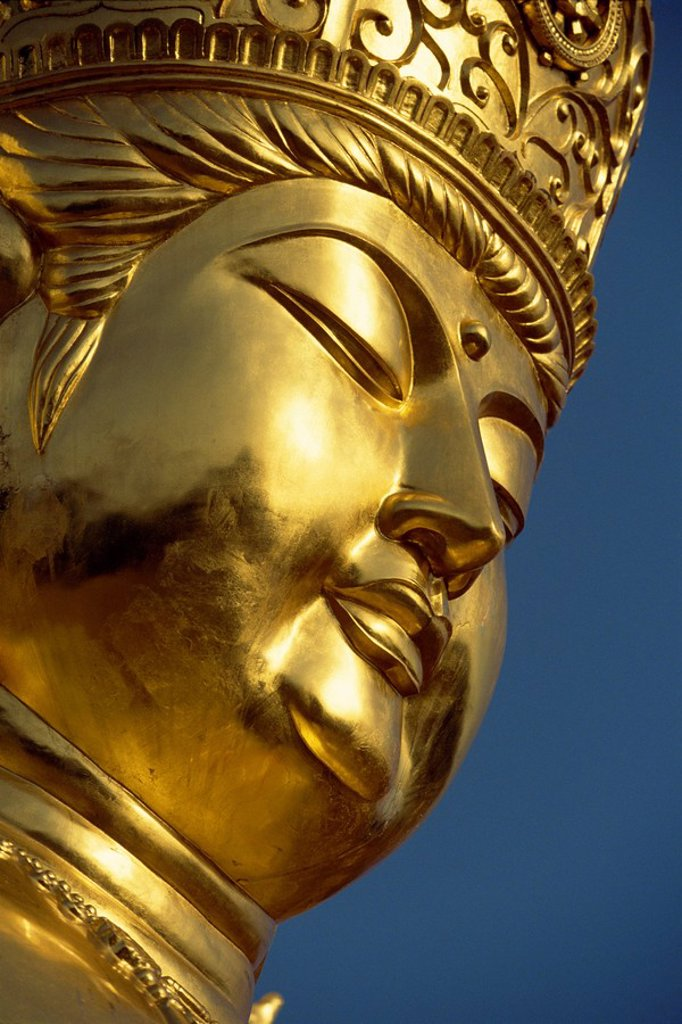 Stock Photo: 1890-61391 Close_up of the face of the golden Buddha at a new shrine near religious centre of Koyasan on Kii Peninsula, in western Honshu, Japan, Asia