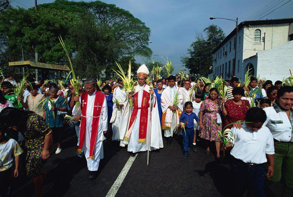 Stock Photo: 1890-61496 Palm Sunday procession in the centre of San Salvador, El Salvador, Central America