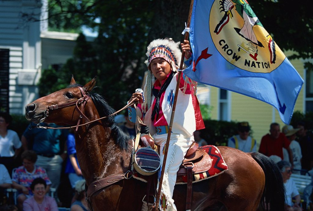 Crow Nation Indian at Bristol´s famous 4th of July parade, Bristol, Rhode Island, United States of America, North America : Stock Photo
