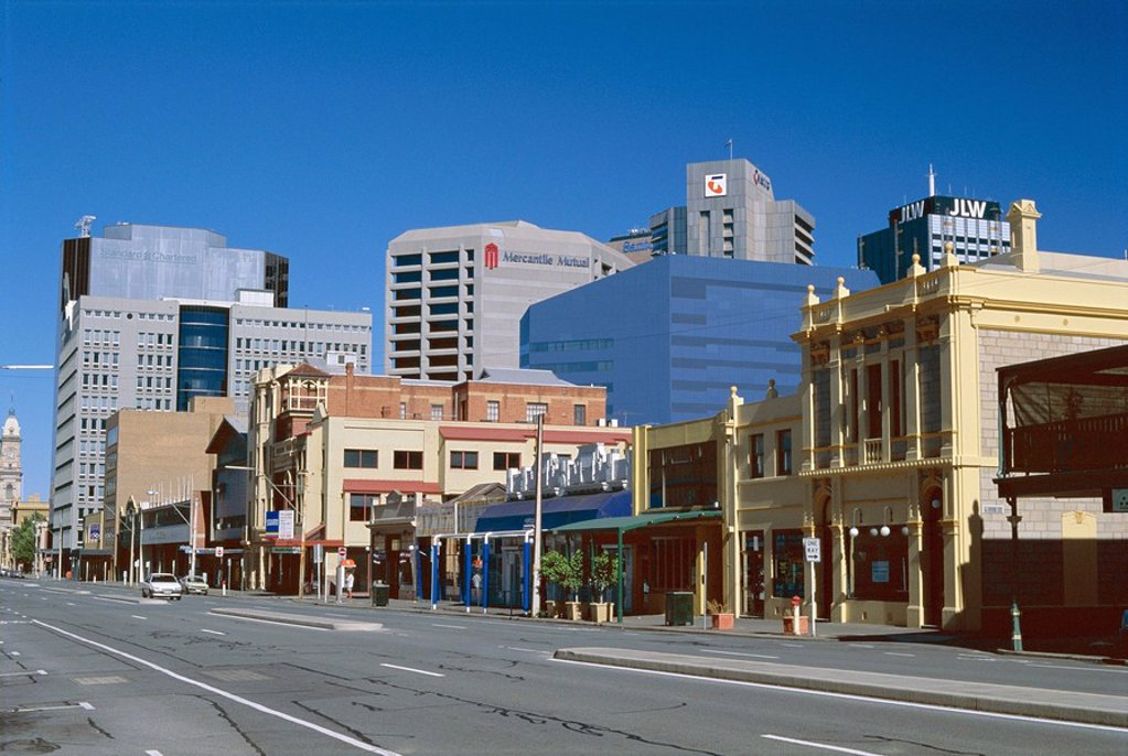 Stock Photo: 1890-61761 Looking west along Flinders Street in city centre, Adelaide, South Australia, Australia, Pacific