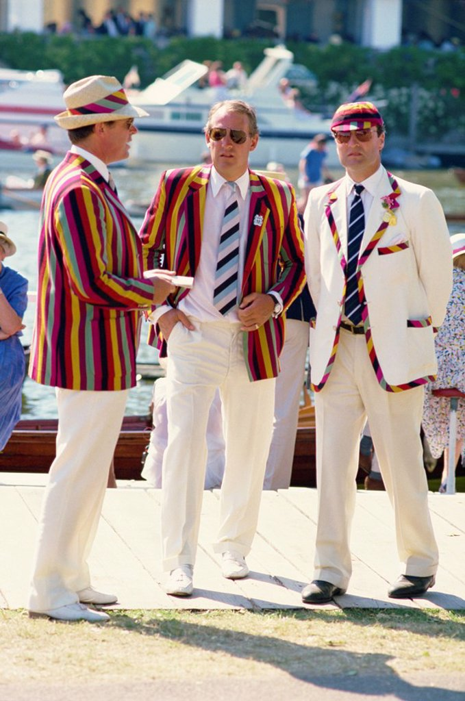 Stock Photo: 1890-61780 Men in blazers, in the exclusive stewards enclosure at Henley´s famous rowing regatta, Henley on Thames, Oxfordshire, England, United Kingdom, Europe