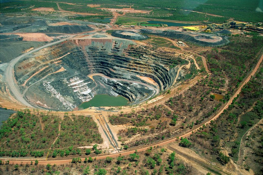 Stock Photo: 1890-61815 Aerial of Ranger Uranium mine in Kakadu National Park from which a share of the profits go to aboriginal landowners in the Northern Territory of Australia, Pacific