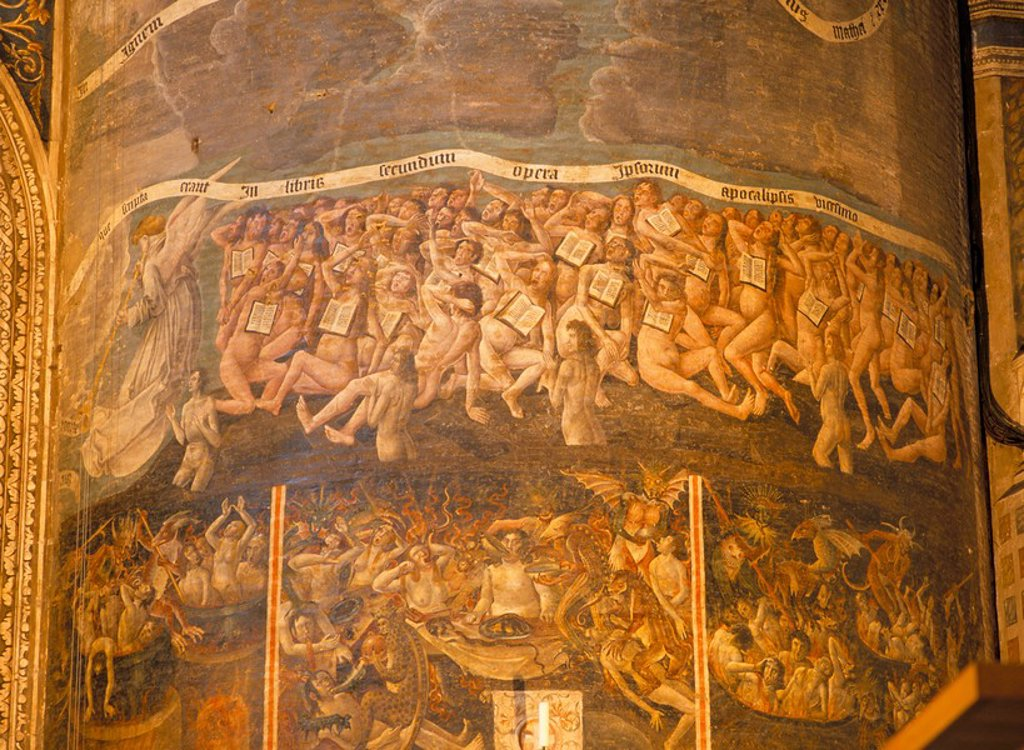 Part of huge mural of the Last Judgement, believed to be by Flemish artists dating from the late 15th century, in the nave of Ste. Cecile Cathedral, Albi, Midi_Pyrenees, France, Europe : Stock Photo