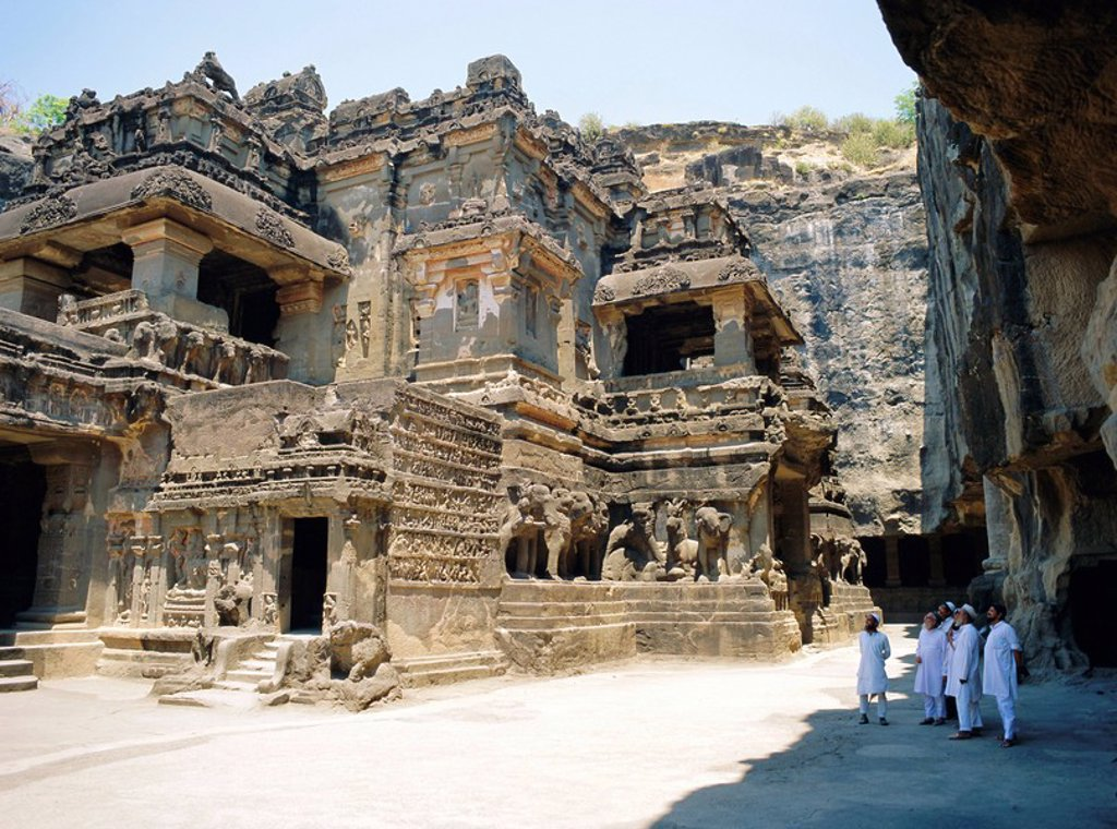 Main hall Mandapa from SW with entrance and Ramayana frieze, Kailasa Temple, Ellora, India : Stock Photo