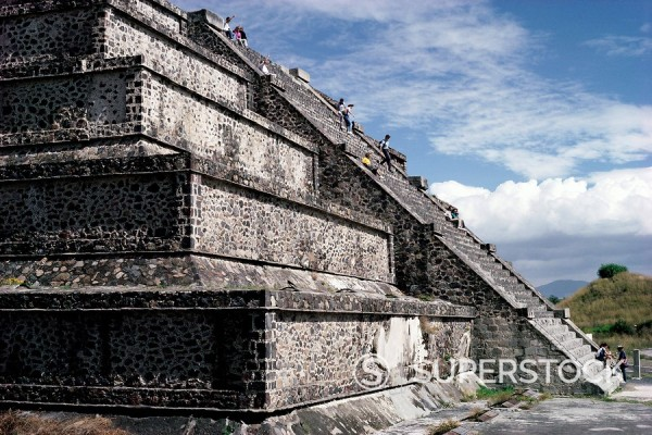 Stock Photo: 1890-62429 Main staircase of the Pyramid of the Moon, archaeological site, Teotihuacan, UNESCO World Heritage Site, Mexico, North America