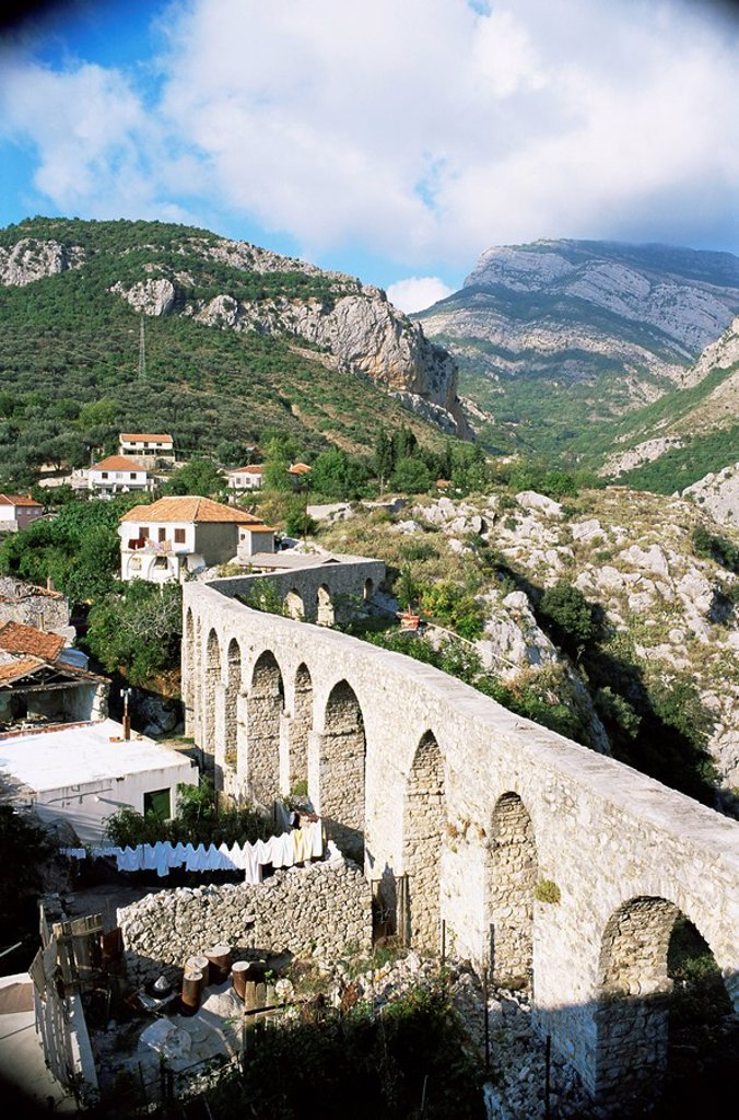 Stock Photo: 1890-6245 Aqueduct dating from the 17th century, supplying Stari Bar, founded by Justinian in the 6th century, near modern Bar, Montenegro, Europe