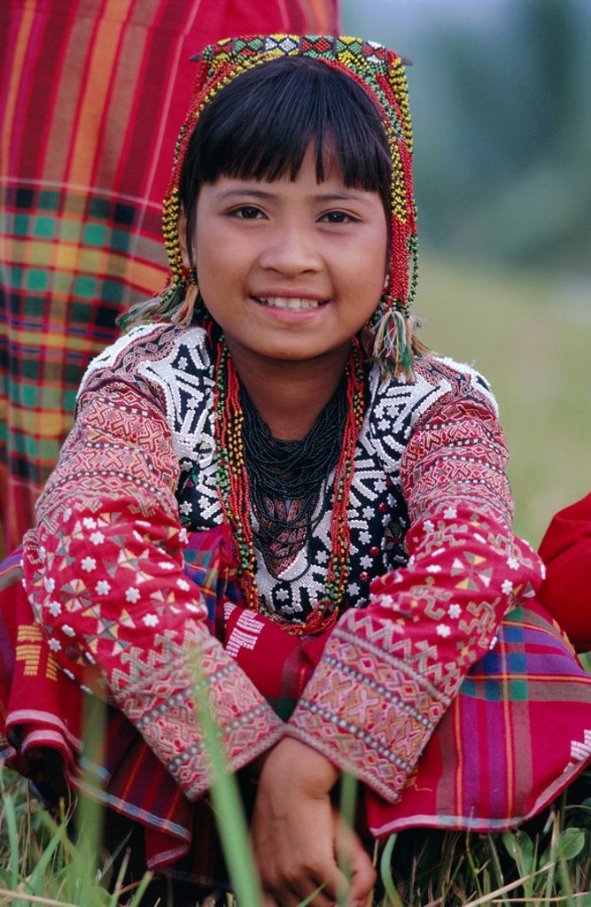 Stock Photo: 1890-62559 Portrait of a girl from the Kalaban tribe in traditional dress, famous for Eric an ethnic dance joy and happiness, South Cotabato P. island of Mindanao, Philippines, Southeast Asia, Asia