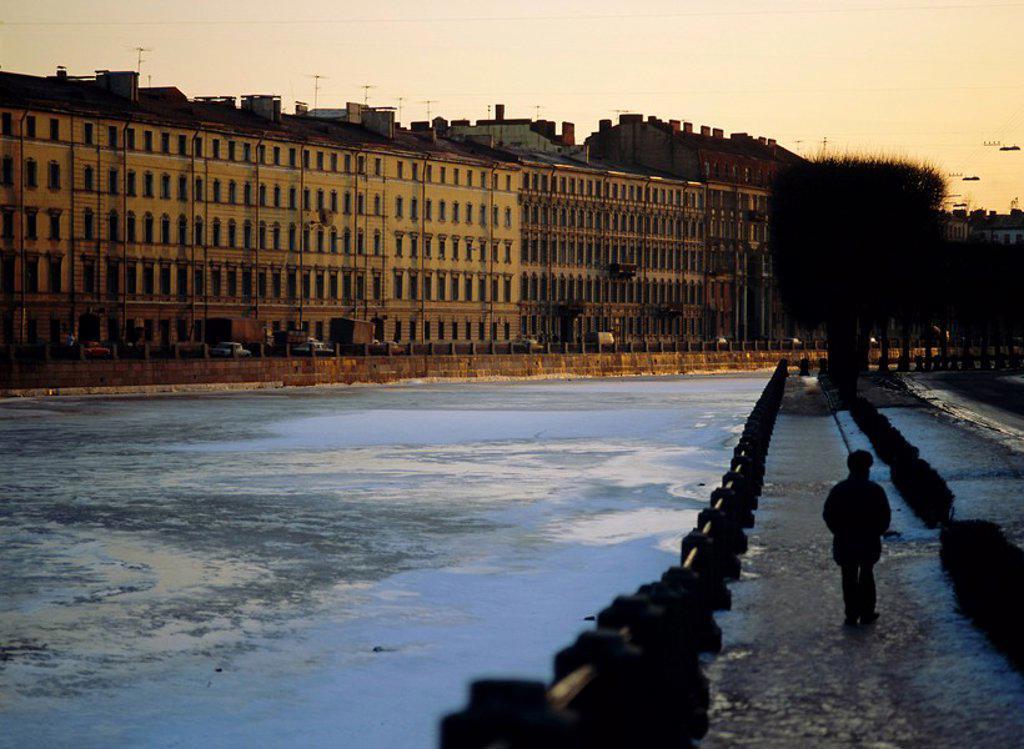 Fontanka Canal at dusk, St. Petersburg, Russia : Stock Photo