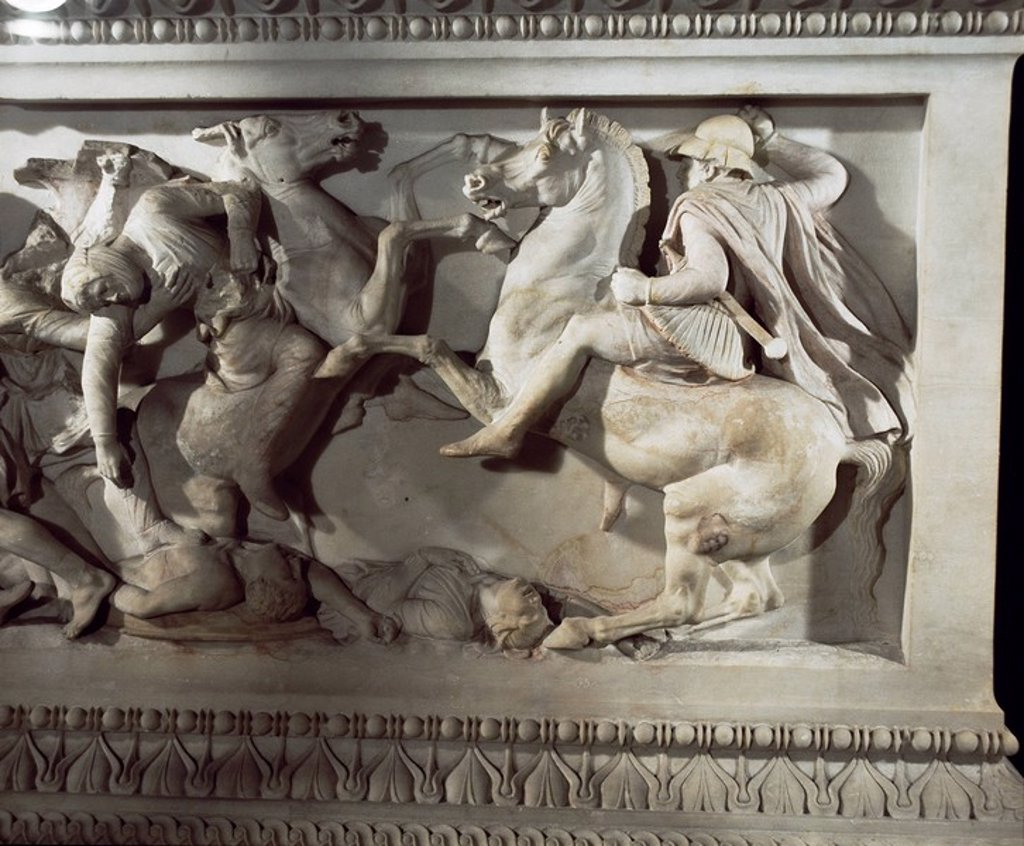 Stock Photo: 1890-6274 Detail of the sarcophagus of Alexander the Great, Istanbul Museum, Turkey, Europe, Eurasia