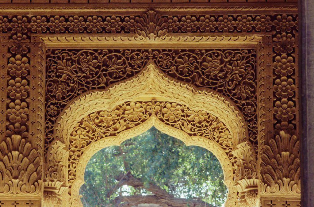Restoration in the interior of the Jain temple, Amar Sagar, near Jaisalmer, Rajasthan, India : Stock Photo