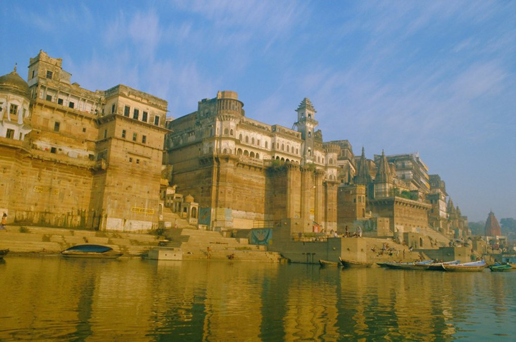 Stock Photo: 1890-63074 The waterfront at Varanasi, previously known as Benares, on the Ganges River, Uttar Pradesh, India
