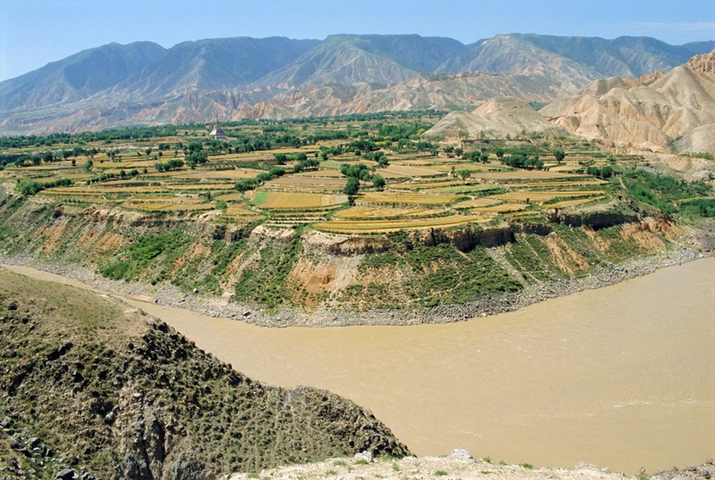Hwang Ho, the Yellow River, in Qinghai Province, China : Stock Photo