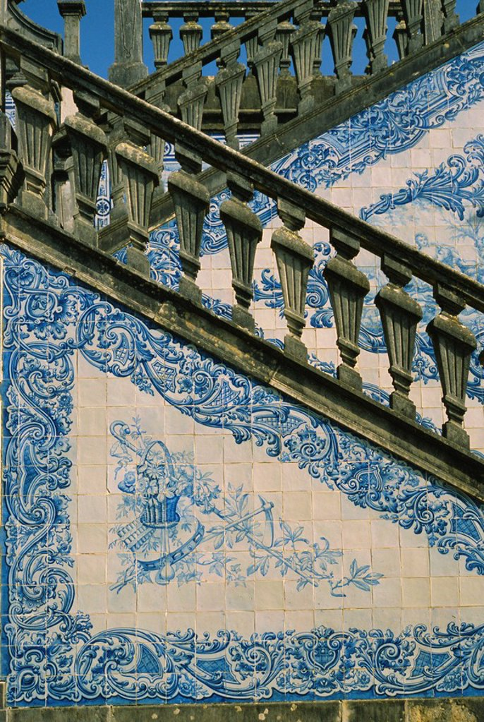 Stock Photo: 1890-63432 Detail of external staircase decorated with azulejos tiles, paco or manor house of Counts of Estoi, Estoi, Algarve, Portugal, Europe