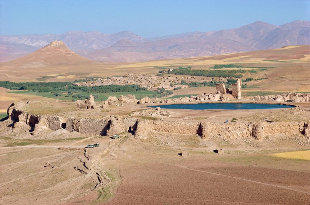 Stock Photo: 1890-6376 Aerial view over the fortress, lake and ruins at Takht_E_Sulaiman, Iran, Middle East
