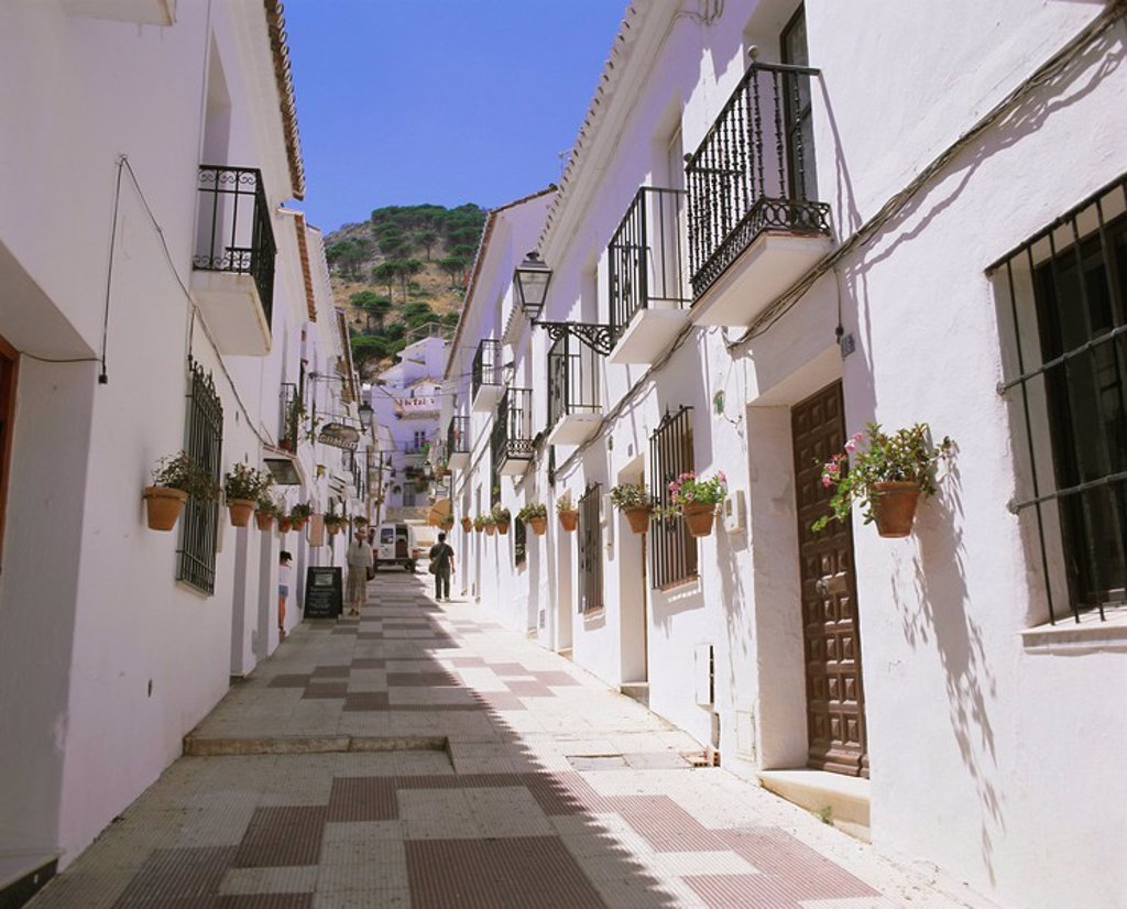 Stock Photo: 1890-63780 Street in the white hill village of Mijas, Costa del Sol, Andalucia Andalusia, Spain, Europe