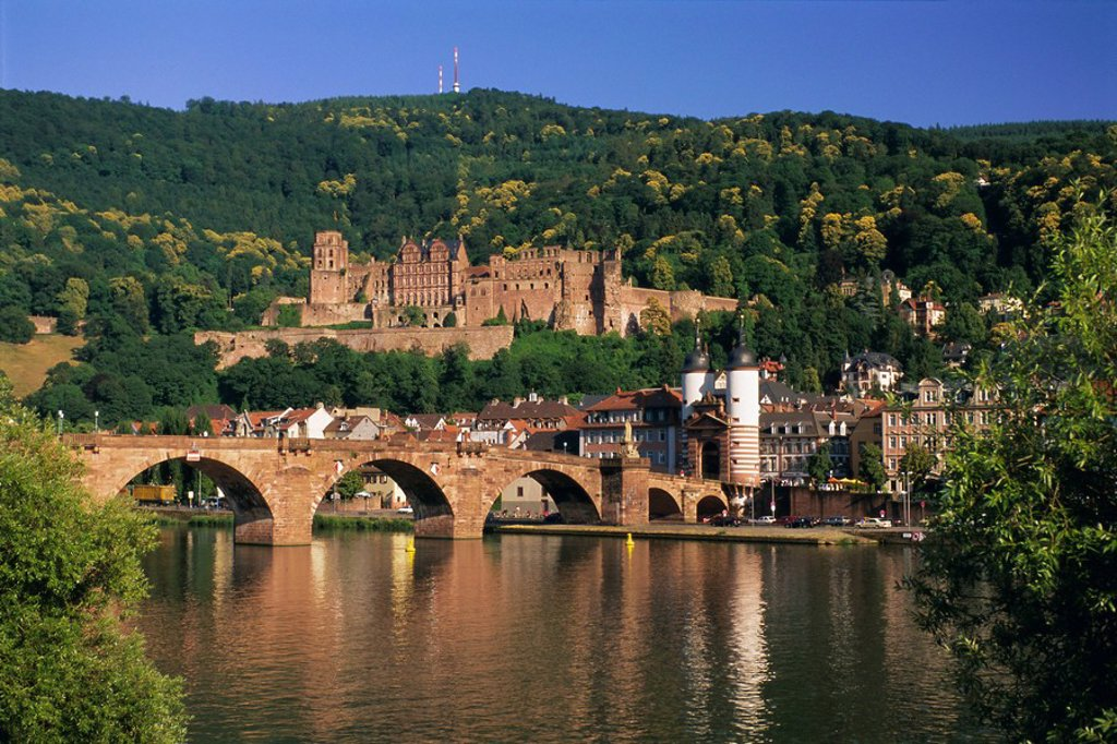 Castle, Neckar River and Alte Bridge, Heidelberg, Baden Wurttemberg, Germany, Europe : Stock Photo