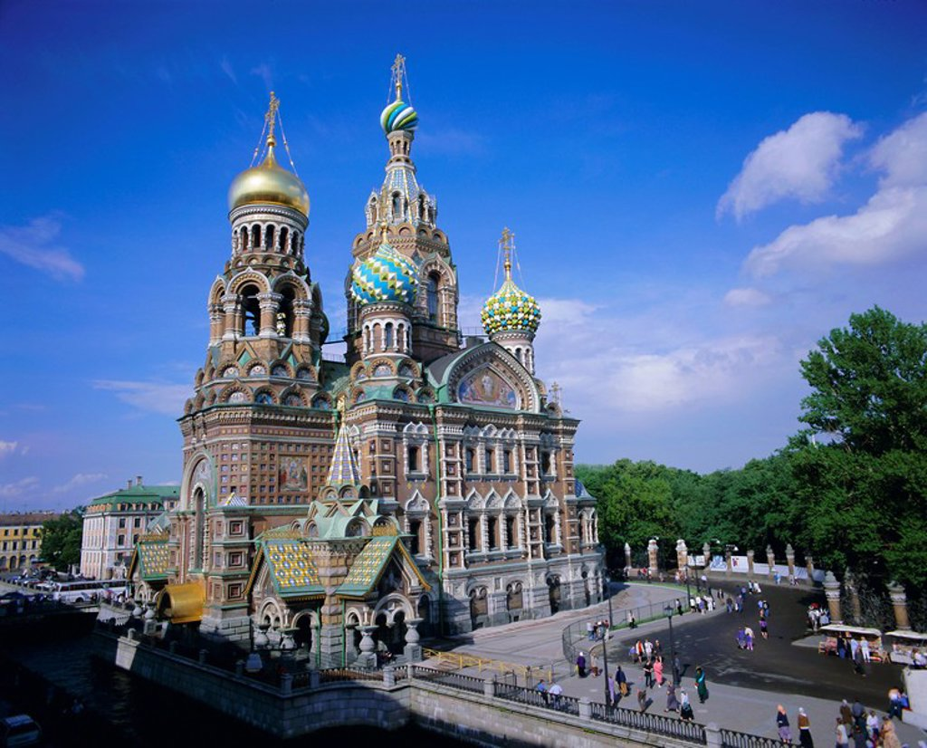 Stock Photo: 1890-63981 Church on Spilled Blood Church of the Resurrection, UNESCO World Heritage Site, St. Petersburg, Russia, Europe