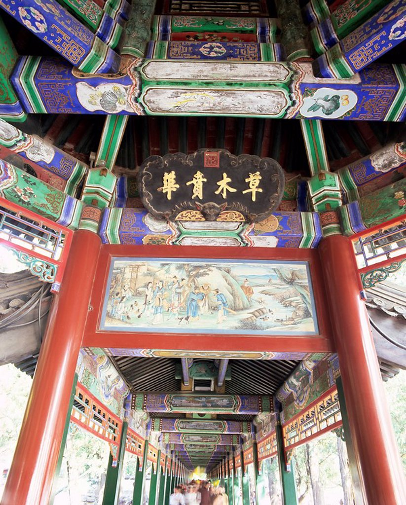 Stock Photo: 1890-64100 The Long Corridor Changlang, decorated with 700m of mythical scenes, The Summer Palace, UNESCO World Heritage Site, Beijing, China, Asia