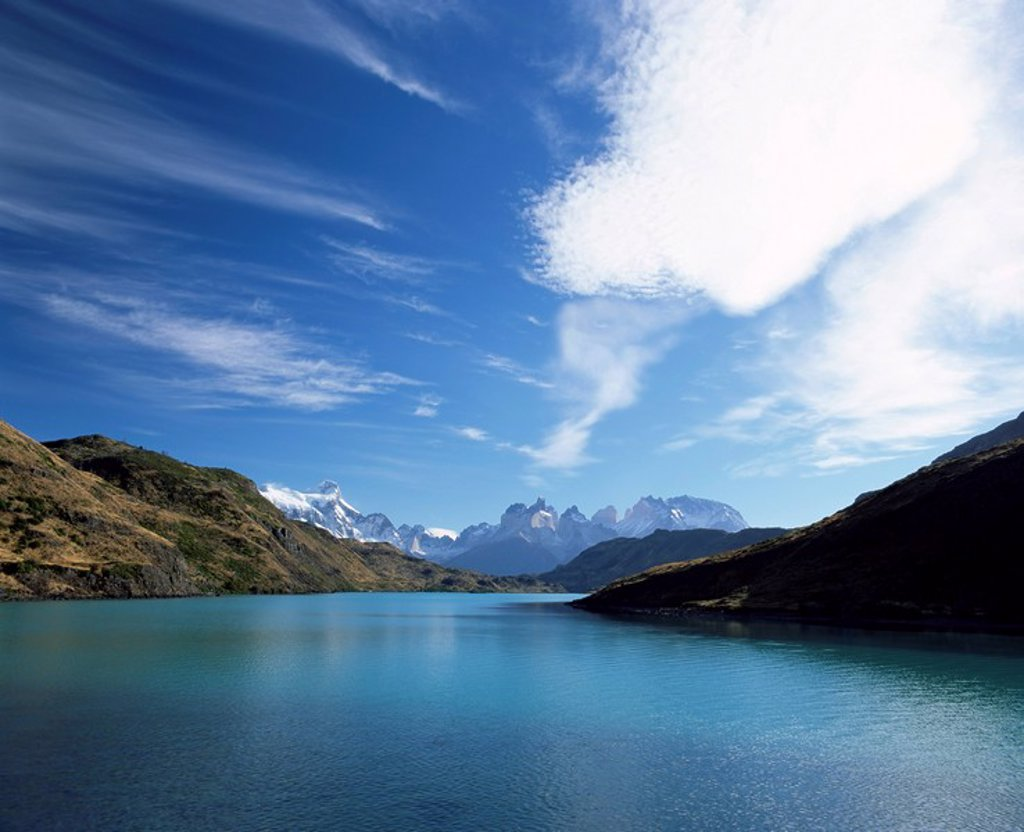 Cuernos del Paine rising up above Rio Paine, Torres del Paine National Park, Patagonia, Chile, South America : Stock Photo