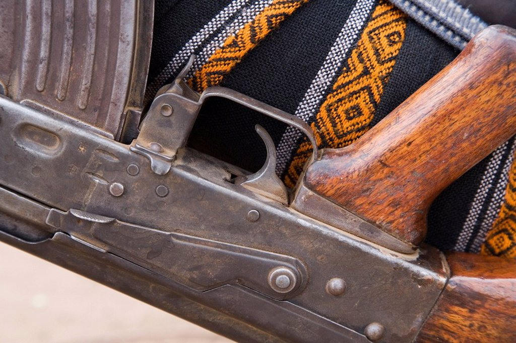 Detail of a semi automatic weapon in the Lower Omo Valley, Ethiopia, Africa : Stock Photo